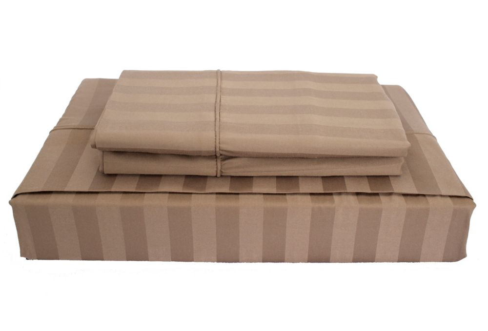 310TC Bamboo Stripe Sheet Set, Mink, Double
